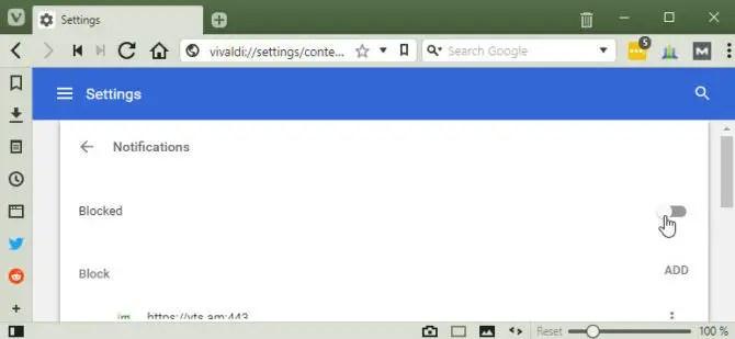 Vivaldi block browser notifications
