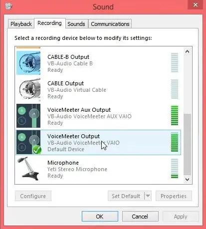 VoiceMeeter Output Default