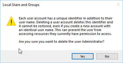 Deleting the administrator user in Windows 10