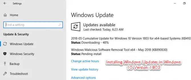 Installing Windows Update in Windows 10 Version 1803 min