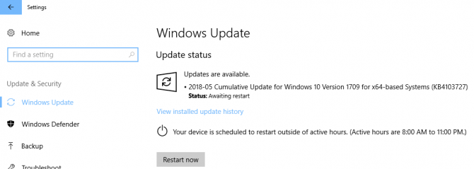 Update being installed on Windows 10 Version 1709