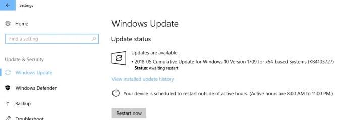 KB4103727 Update being installed on Windows 10 Version 1709
