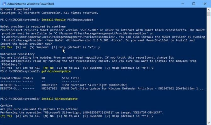 Install WindowsUpdate