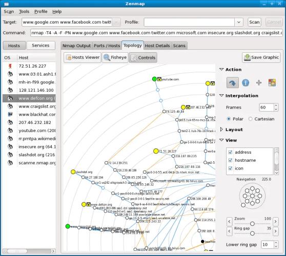 Network topology using NMap