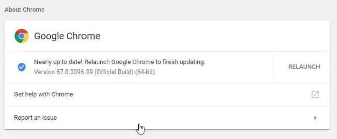 Relaunch Google Chrome to finish updating