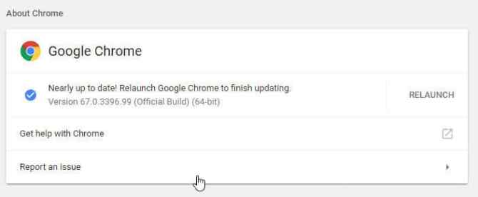 Relaunch Google Chrome to finish updating