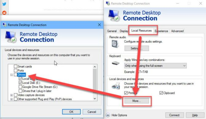Remote Desktop Connection sharing host drives with VM