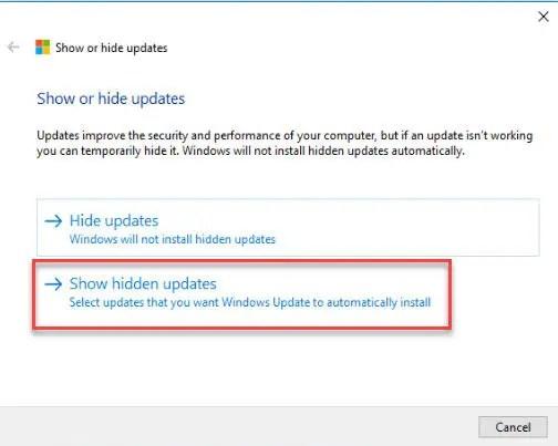 Show hidden updates selection window