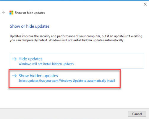Show hidden updates selection window