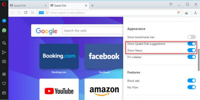 enabling news on Speed Dial in Opera 54