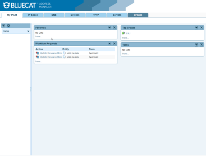 BlueCat IPAM dashboard