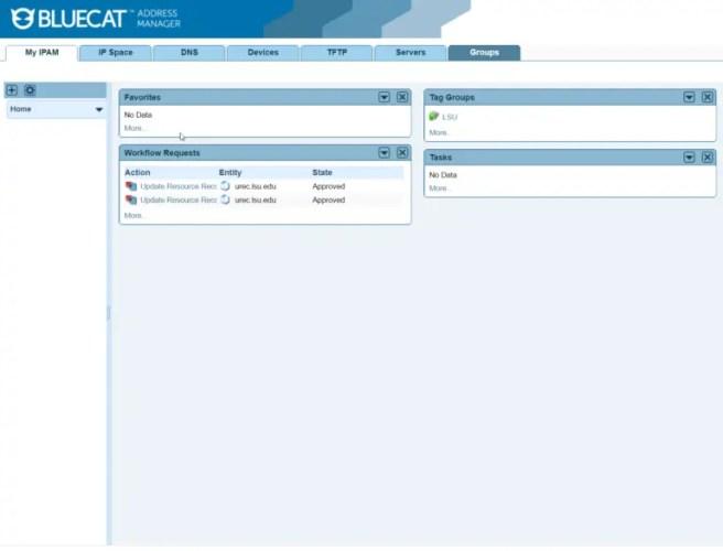 BlueCat IPAM dashboard