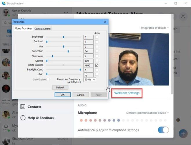 Skype webcam picture quality settings