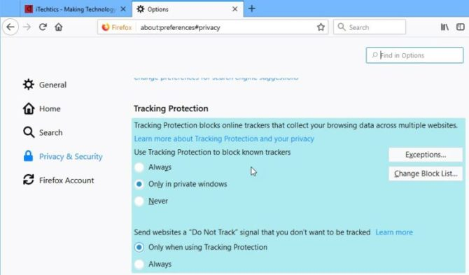 Tracking protection options