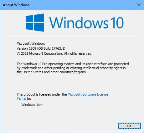 Windows 10 Version 1809 build number