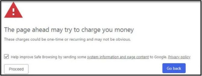 Chrome 71 deceptive billing warning
