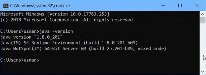 check Java version using command line