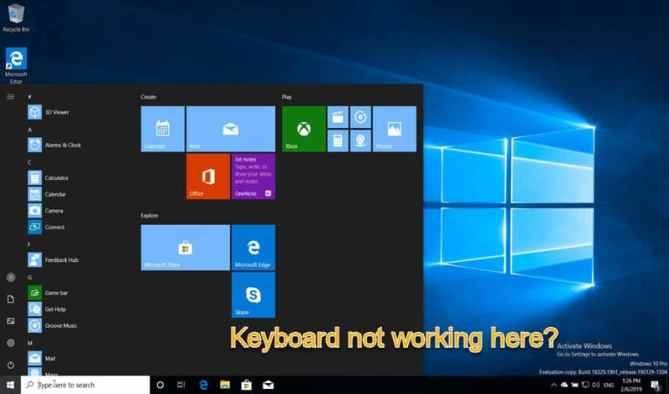 keyboard not working in start menu skype solution