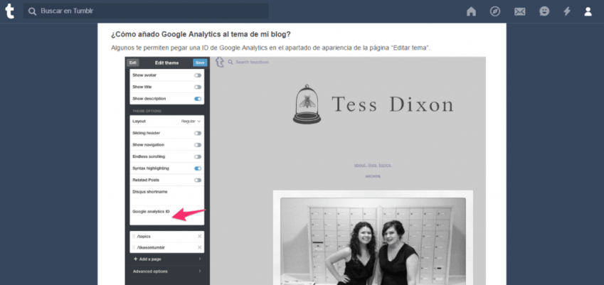Integrar Google Analytics en Tumblr