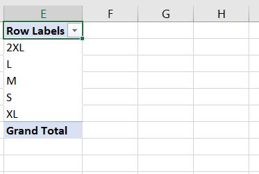 begining of pivot table