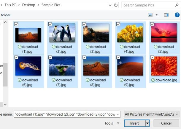 Select photos for PowerPoint slide show