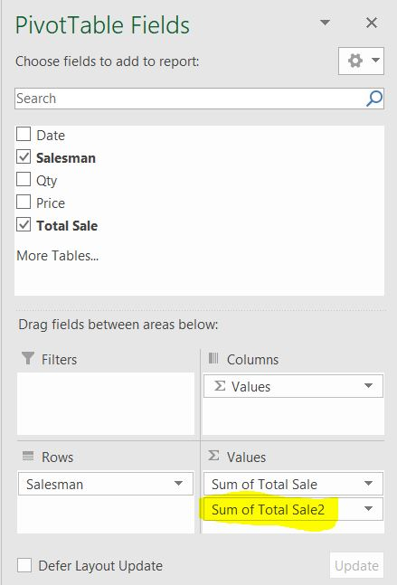 Add second total field to Values