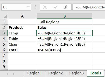 Excel 3D reference formulas