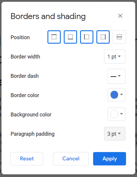 Google Docs Border and shading options