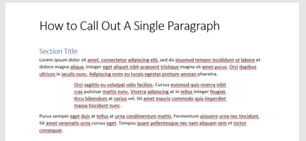 Word Paragraph Indentation