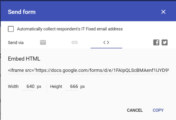 Google Forms Embed HTML