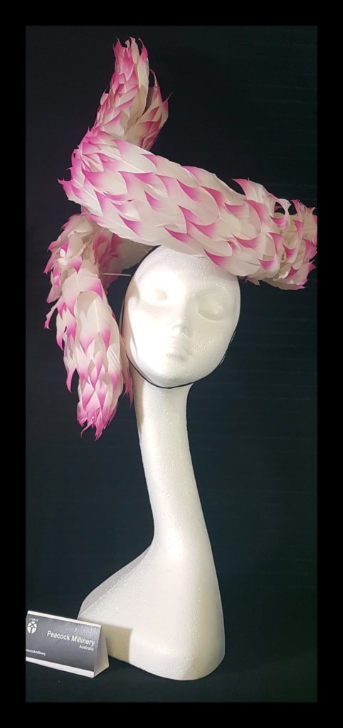 A Dragons Tale Hat designed by Belinda Osbourne at Peacock Millinery