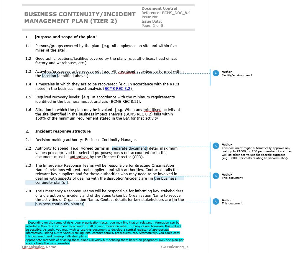 You also need to ensure that you can take phone calls from clients when they need to reach you. Free Template How To Write An Iso 22301 Business Continuity Plan