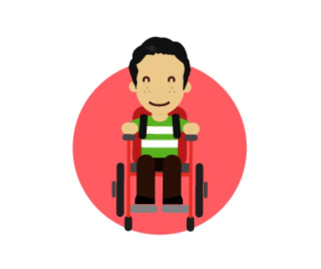 Dibujo de persona con silla de ruedas.