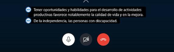 Muestra del subtitulado en skype