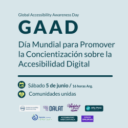 Flyer del GAAD 2021 organizado en LATAM con logos de comunidades amigas