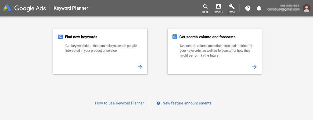 Paparan utama Google keyword planner