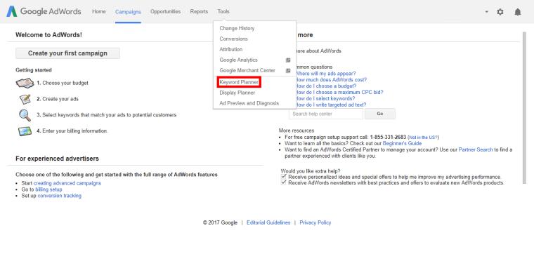 cara akses keyword planner
