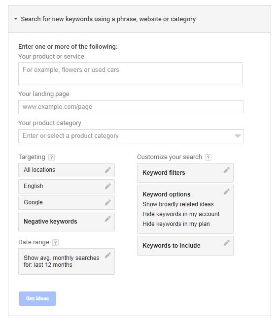 bahagian search for new keywords pada google keyword planner