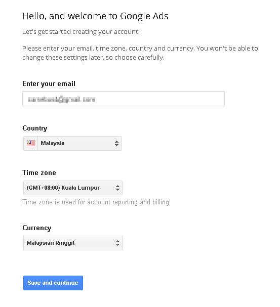 buat akaun Google Adwords