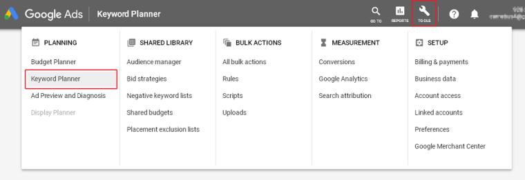 menu keyword Planner