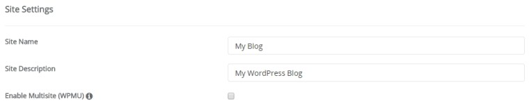 site setting semasa install wordpress