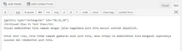 text view dalam wordpress