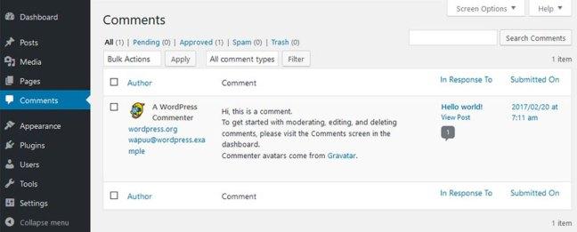 menguruskan komen dalam wordpress