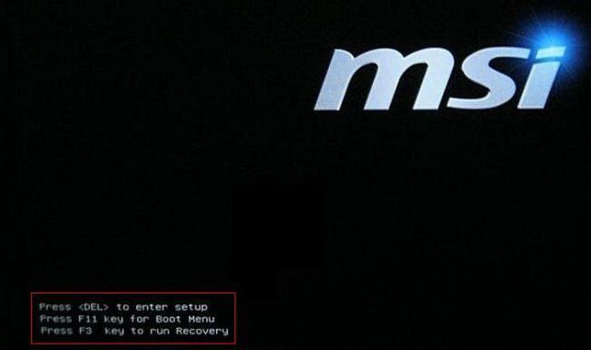 kunci untuk akses bahagian setting bios atau menu boot