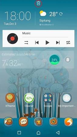 cara buang widget pada homescreen handphone android