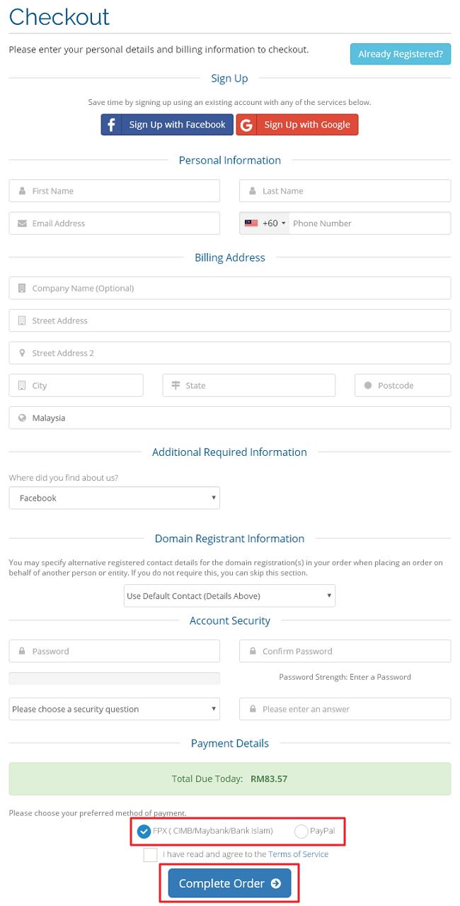 Bahagian pembayaran checkout