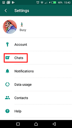 setting chat whatsapp