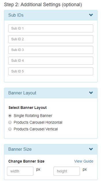carousel banner generator - additional setting