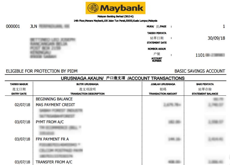 contoh bank statement