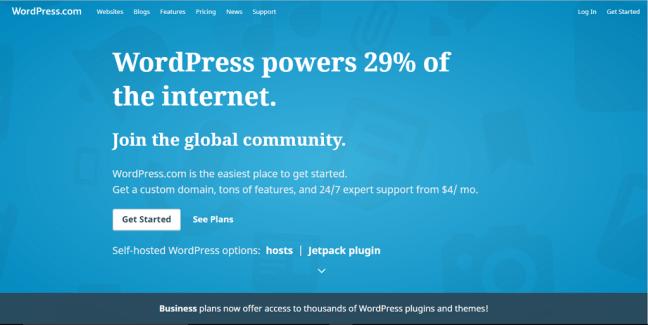 muka utama wordpress dot com